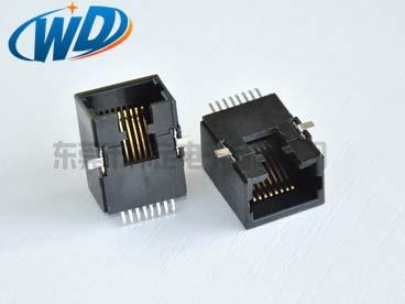 90度侧面插入 RJ45 8P8C 全贴片型全塑 耐高温过回流焊 高11.50mm