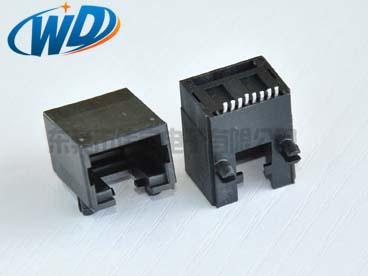 广东贴片网线插座8P8C SMT 侧面插入底部有缺口带塑胶定位柱 高11.50mm专卖