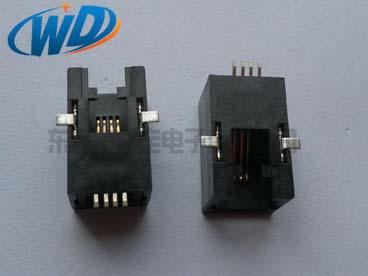 贴板型RJ11 4P4C电话接口 SMT带五金焊片供应商