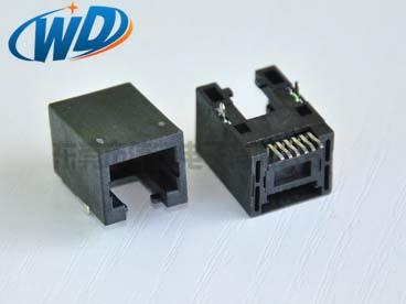 贴片RJ45网口插座带五金定位柱 SMT 前插后贴  耐高温过回流焊高11.50mm