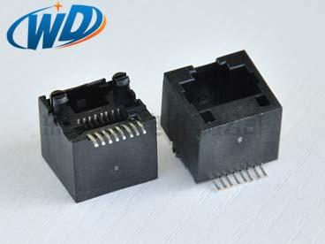 180度贴片型RJ45网线插口 8针带定位柱 镀金6u