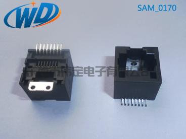 180度 RJ45网络接口SMT 8P8C带焊片 高12.70mm变频器网口专卖