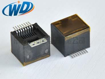 180度 RJ45 8P8C SMT网络插座带3孔固定片贴防尘膜中心