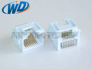 沉板8.60mm RJ45贴片型  SMT 白色塑胶PA9T耐高温料