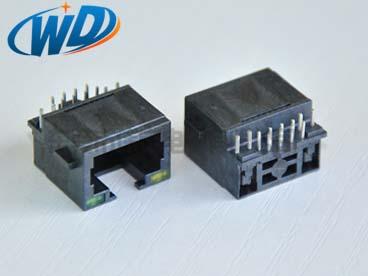 东莞超薄沉板RJ45全塑带LED灯 网络插座板下高度3.0mm