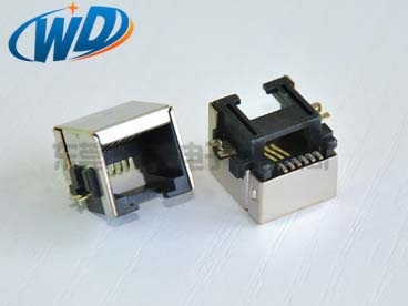沉板贴片型电话接口 RJ12 6P6C带屏蔽壳 SMT 板上高8.50mm