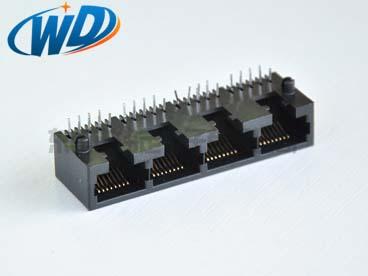 1X4 四口联体RJ45网络插座 侧插型高11.50开口朝下有缺口