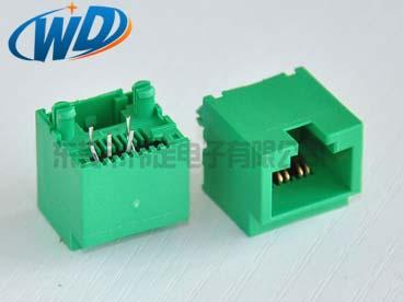 东莞网线插口厂家 垂直插入型RJ45 8P4C绿色网络接口