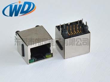 上海180度超薄型  RJ45带LED灯带屏蔽壳 网络接插件