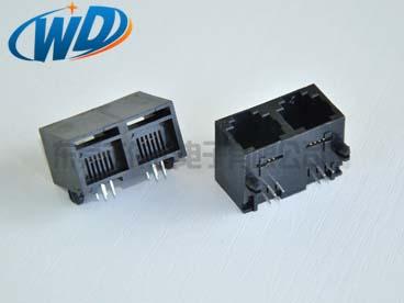 1X2 双胞RJ11 6P4C 电话水晶头母头 高12.65mm