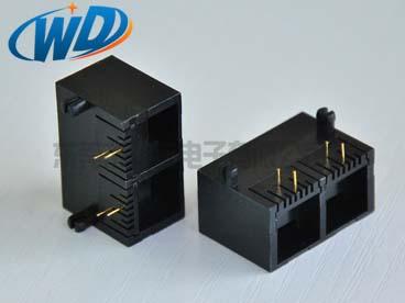 1X2 双口RJ11电话插口 6P6C 6P4C 6P2C 特殊款 高12.65mm