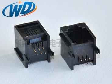 90度侧插 常规RJ11 6P6C电话接口 带耳