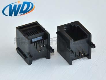 90度插入 常规RJ11电话插座 4P4C带耳