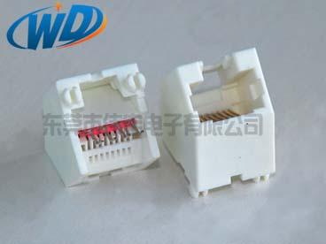 45度插入 RJ45 8针 全塑白色网络插座