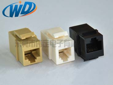 CAT.5E带卡钩RJ11 6针 RJ45 8针网络直通插座 俩头接水晶头