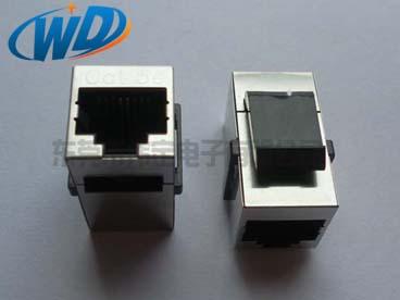CAT.5E带卡钩带屏蔽壳RJ45连接器直通模块 8P8C网络插座 6P6C电话接头