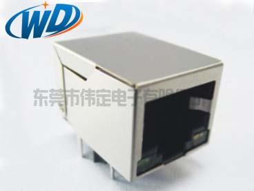 单口以太网带网络滤波器RJ45带灯 网口插座10P10C