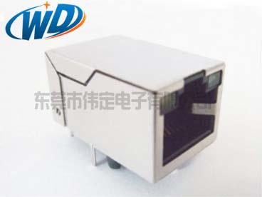 开口朝上 单胞以太网网络插座RJ45带灯 10针千兆网卡接口线路可选
