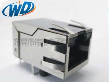 开口朝上 单口RJ45带网络滤波器网口插座 内置变压器