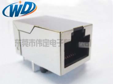 开口朝上 单口RJ45内置网络变压器插座 100M 1000M可选