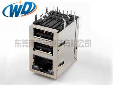 RJ45+双层USB带LED灯 内置网络变压器100M 1000M