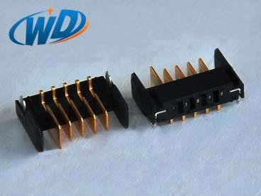 2.0mm 间距沉板式 5PIN刀片电池公座 板下高度2.25mm