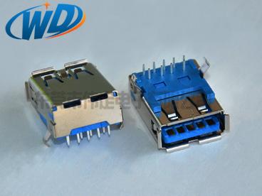 东莞USB3.0厂家 常规款USB 3.0连接器 A母插座 A TYPE接头卷边湾脚
