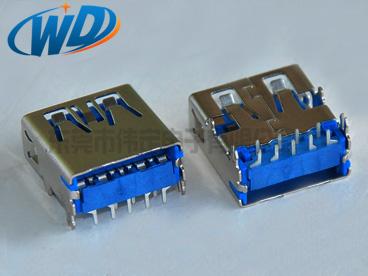 短体USB 3.0 连接器AF DIP鱼叉脚平口 A TYPE蓝胶 高速传输 是3.2Gbps