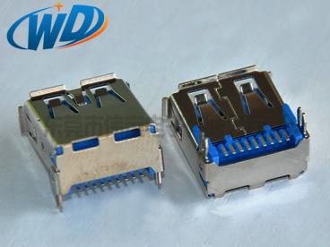 短体贴片USB 3.0连接器AF  SMT插头A型母座鱼叉脚长14.50mm
