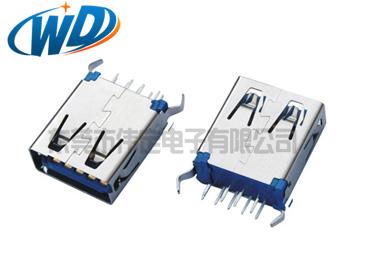 180度立式USB 3.0 AF 连接器平口弯脚 H=19.50mm