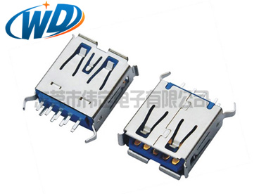 短体 USB连接器 3.0插口 AF 180度插入  超短款长13.70mm卷边弯脚服务商
