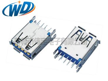 东莞USB 3.0工厂  AF连接器 插件 侧插式A型母头