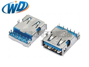沉板DIP USB 3.0连接器 AF母座 鱼叉四脚板上高2.96