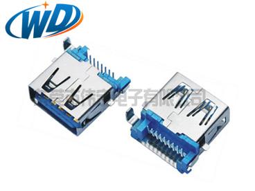 沉板插件USB 3.0连接器 A型母座平口插头 板上高3.50mm