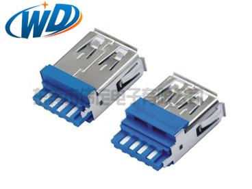 焊线一体式USB 3.0 AF连接器插头  带凸台 线材成型用电脑接口