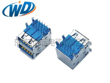USB 3.0 AF 双层 DIP 短体 A母头 PCB 端 俩层L17.46mm