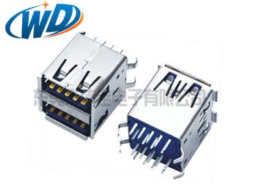 USB 3.0连接器 AF 双层 180立式A型母头四弯脚卷边