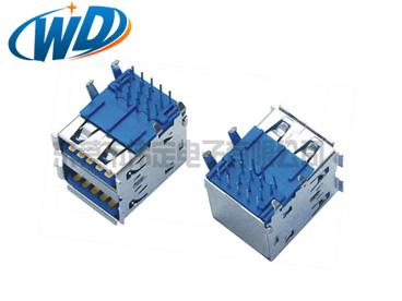 USB 3.0连接器 AF 双层插件A TYPE母座 长体 L19.90mm