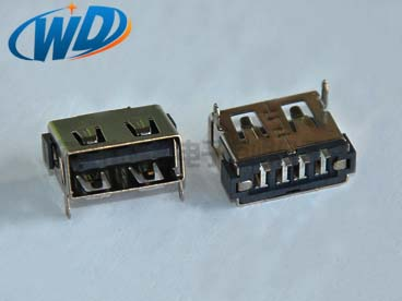USB插座 AF短体长10.0mm母座 鱼叉脚连接器 高5.70mm