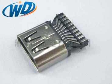 19PIN HDMI 公头高清接头镀金连接器