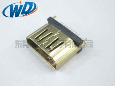 立式 180 垂直插 HDMI 插座镀金外壳
