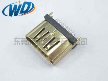 立式 180度HDMI母座 镀金连接器插头