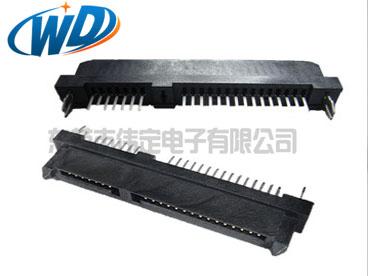 7+15 22PIN  180度SATA 母座连接器带夹板 鱼叉定位柱