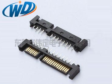 180度7+15 22PIN SATA连接器公头 立式硬盘连接器带定位柱插件