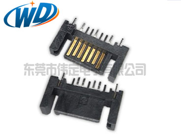 180度双臂7PIN SATA连接器公头端子 立式硬盘接头 焊线型