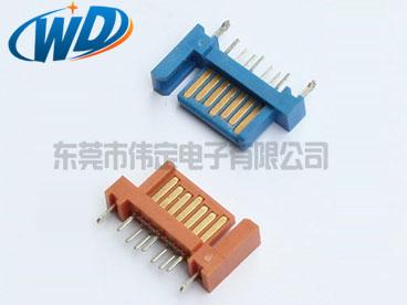 单臂 7PIN SATA插件连接器 DIP型带鱼插公头180度 硬盘接头端子