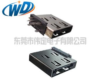 侧插式 7PIN ESATA连接器 90度平口公头座子插件DIP型