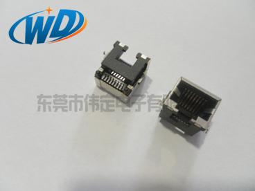 沉板 SMTRJ45内带弹片 特殊款长14.70mm 贴片网口插座