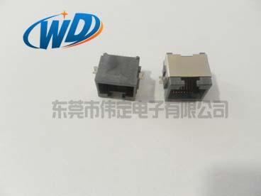开口超上沉板贴片型RJ45连接器 SMT 8P8C网络接口反向半包壳板上高度7.50mm
