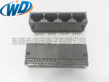 1X4 四连体RJ45网络插座 四口全塑加长网络插座